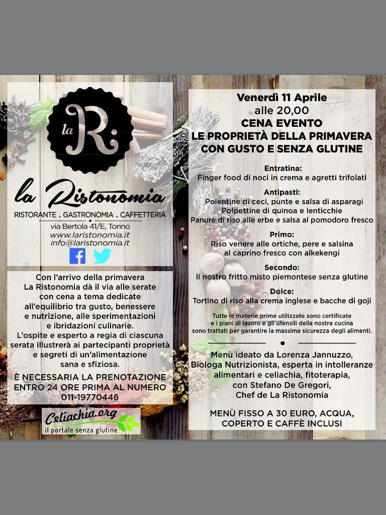 Serata evento senza glutine a Torino