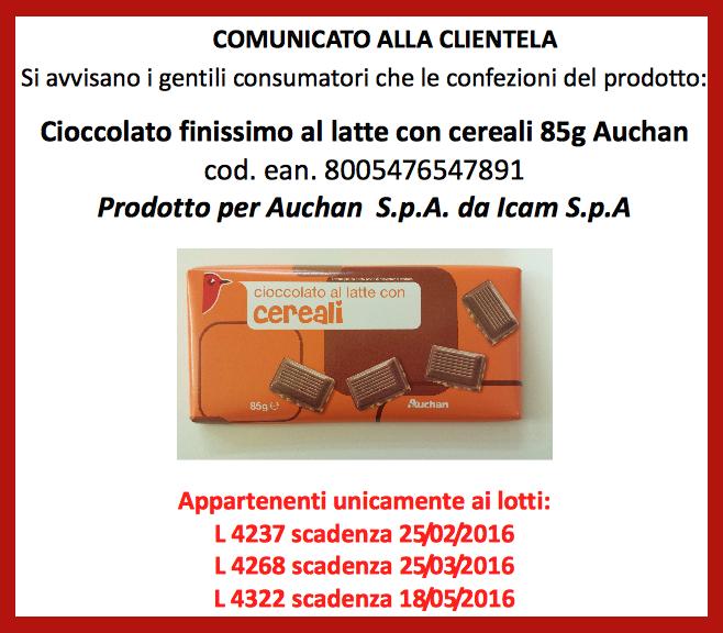 Avviso per i celiaci: cioccolato senza glutine Auchan ritirato per errore di etichettatura
