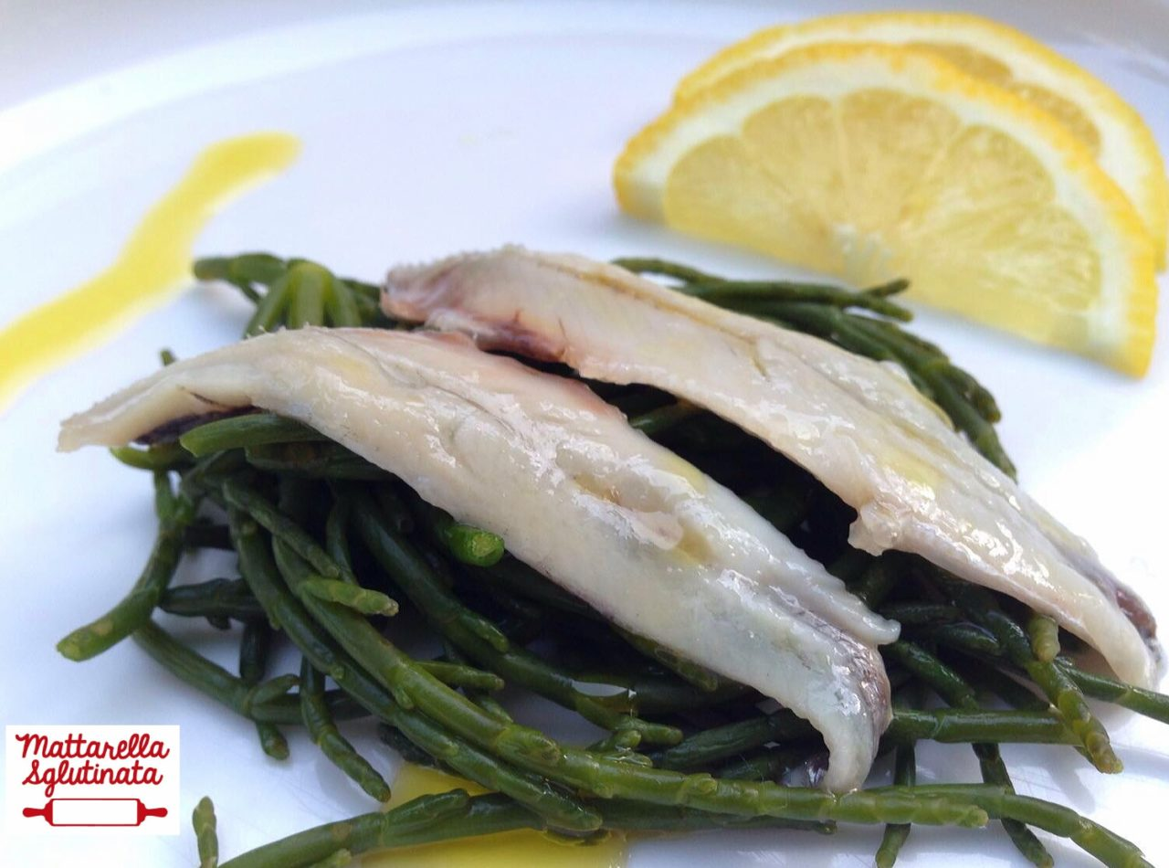 Asparagi di mare con alici marinate