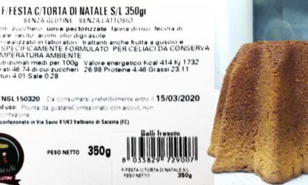 Richiamata torta di Natale senza glutine e lattosio Belli Freschi: possibile presenza di proteine del latte