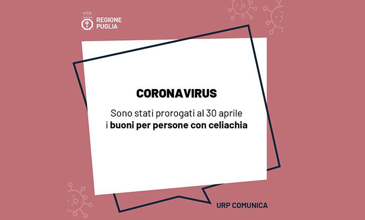 Emergenza Coronavirus, prorogati al 30 aprile i buoni per persone con celiachia